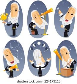 Astronomer astronomy Telescope Globe Observing Sky Stars Constellations. Vector illustration cartoon.