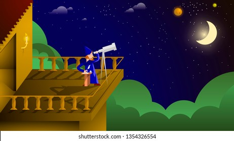 an astronomer in a blue mantle on the balcony of his house observes stars and planets through a telescope and records with a pen on a piece of white paper. author's drawing. vector