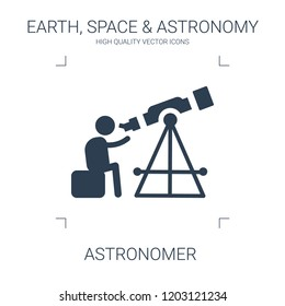 astronomer icon. high quality filled astronomer icon on white background. from earth space astronomy collection flat trendy vector astronomer symbol. use for web and mobile
