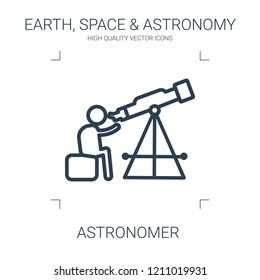 astronomer icon. high quality line astronomer icon on white background. from earth space astronomy collection flat trendy vector astronomer symbol. use for web and mobile