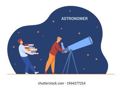 Astronomer looking through telescope. Cartoon character stargazing, assistant with books flat vector illustration. Astronomy, stars, science concept for banner, website design or landing web page