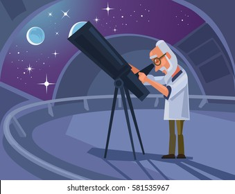 Astronomer scientist character looking through telescope. Vector flat cartoon illustration