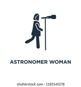 Astronomer Woman icon. Black filled vector illustration. Astronomer Woman symbol on white background. Can be used in web and mobile.