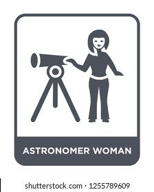 astronomer woman icon vector on white background, astronomer woman trendy filled icons from Ladies collection, astronomer woman simple element illustration