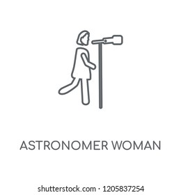 Astronomer Woman linear icon. Astronomer Woman concept stroke symbol design. Thin graphic elements vector illustration, outline pattern on a white background, eps 10.