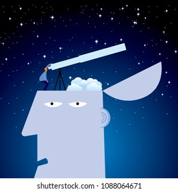 Astronomers Observing Celestial Images, on the head.