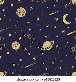 astronomic seamless pattern with space planets,comets,stars.Vector illustration