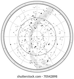 Astronomical Celestial Map of Northern Hemisphere (Outline chart) EPS-8