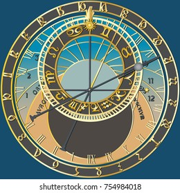 Astronomical Clock - vector graphic