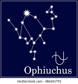Astronomical constellation and astrological zodiac symbol. New thirteenth zodiac sign Ophiuchus.