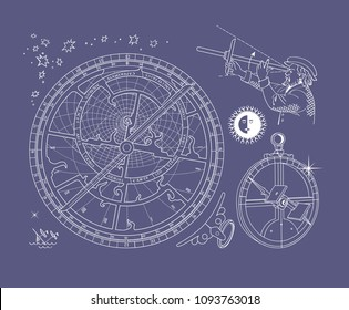Astronomical contour drawings on blue background