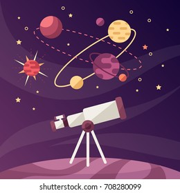 astronomical discoveries. science. telescope. vector cartoon illustration