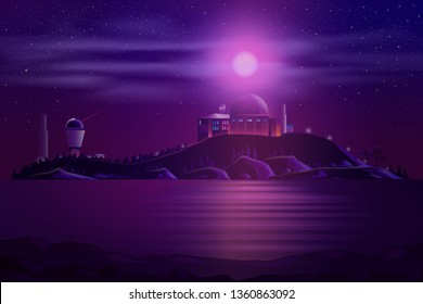 Astronomical ground-based observatory with optical telescope and laser guide star system on ocean shore carton vector illustration. Science institution building for space researches and observations