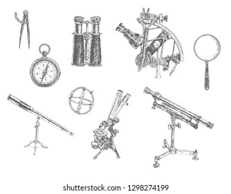 Astronomical, mathematical and surveying instrument set. Binoculars, mariner's compass, sextant, telescopes oculars, spyglass, sundial, microscope and magnifying glass. Engraved vintage hand drawn