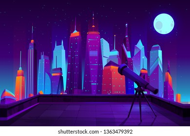 Astronomical observations in modern city cartoon vector in neon colors. Telescope on tripod, standing on house roof, directed in starry sky with fool moon under metropolis skyscrapers illustration
