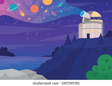 Astronomical observatory flat color vector illustration. Structure containing telescopes and auxiliary instruments 2D cartoon landscape with night sky with stars and planets on background