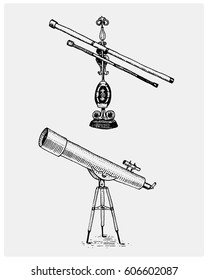 Astronomical telescope, vintage, engraved hand drawn in sketch or wood cut style, old looking retro scientific instrument for exploring and discovering Galileo Galilei