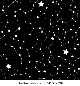 Astronomical vector seamless pattern with handwritten stars and constellations. You can use any color of background
