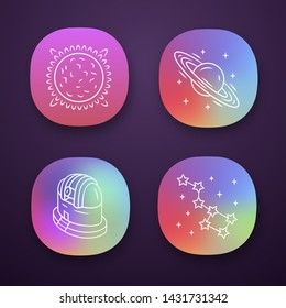 Astronomy app icons set. Space exploration. Sun, Saturn, observatory, constellation. Astrophysics, astrology. UI/UX user interface. Web or mobile applications. Vector isolated illustrations