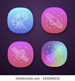 Astronomy app icons set. Space exploration. Telescope, Solar System, artificial satellite, rocket. Astrophysics. UI/UX user interface. Web or mobile applications. Vector isolated illustrations