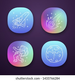 Astronomy app icons set. Space exploration. Moon, spaceship, comet, astronaut. Astrophysics. Galaxy research. UI/UX user interface. Web or mobile applications. Vector isolated illustrations