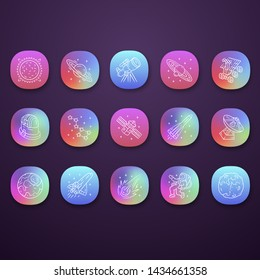 Astronomy app icons set. Space exploration. Astronomical observations. Starry sky study. Astrophysics, astrology. UI/UX user interface. Web or mobile applications. Vector isolated illustrations