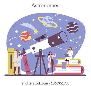Astronomy and astronomer concept. Professional scientist looking through a telescope at the stars in observatory. Astrophysicist study stars map. Isolated vector illustration