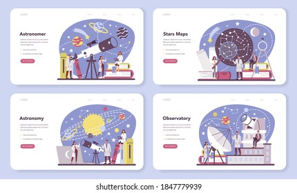 Astronomy and astronomer web banner or landing page set. Professional scientist looking through a telescope at the stars in observatory. Astrophysicist study stars map. Isolated vector illustration