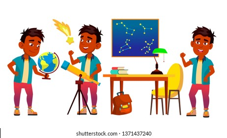 Astronomy, Astrophysics Student Vector Cartoon Characters Set. Astronomy Faculty, Space Exploration. Stars Observing. Young Astronomer, Scientist Studying, Looking At Telescope Flat Illustration