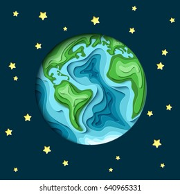 Astronomy background. 3d paper cut Earth  from space vector illustration.  With a shadow and stars.