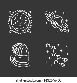 Astronomy chalk icons set. Space exploration. Sun, Saturn, observatory, constellation. Astrophysics, astrology. Celestial objects observing, studying. Isolated vector chalkboard illustrations