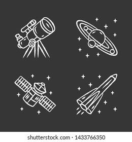Astronomy chalk icons set. Space exploration. Telescope, Solar System, artificial satellite, rocket. Astrophysics. Space research, observation. Cosmic mission. Isolated vector chalkboard illustrations