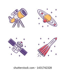 Astronomy color icons set. Space exploration. Telescope, Solar System, artificial satellite, rocket. Astrophysics. Space research, observation. Cosmic mission. Isolated vector illustrations
