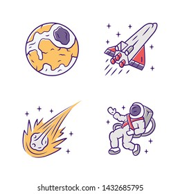 Astronomy color icons set. Space exploration. Earth, spaceship, comet, astronaut. Astrophysics. Galaxy research, observation. Interstellar travel. Cosmic mission. Isolated vector illustrations