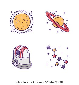 Astronomy color icons set. Space exploration. Sun, Saturn, observatory, constellation. Astrophysics, astrology. Celestial objects observing, studying. Isolated vector illustrations