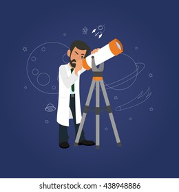 Astronomy concept. scientist looking through a telescope at the stars.  vector.