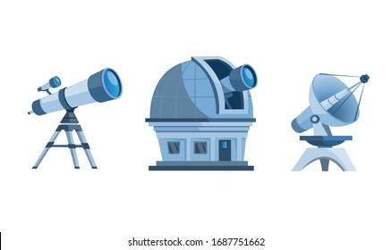 astronomy discovery equipment set. observatory dome, telescope, planetarium and satellite dish cartoon flat illustration vector isolated in white background