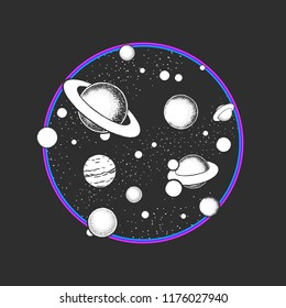 Astronomy doodles vector concept. Hand drawn creative space illustrations.