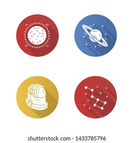 Astronomy flat design long shadow glyph icons set. Space exploration. Sun, Saturn, observatory, constellation. Astrophysics, astrology. Celestial objects observing. Vector silhouette illustration