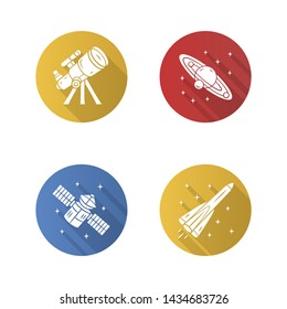 Astronomy flat design long shadow glyph icons set. Space exploration, research. Telescope, Solar System, artificial satellite, rocket. Astrophysics. Cosmic mission. Vector silhouette illustration