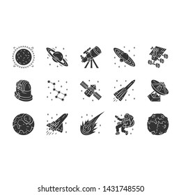 Astronomy glyph icons set. Space exploration. Astronomic. Starry sky study. Astrophysics, astrology. Celestial objects observing, studying. Silhouette symbols. Vector isolated illustration