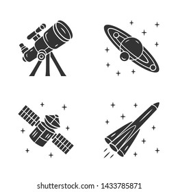 Astronomy glyph icons set. Space exploration. Telescope, Solar System, artificial satellite, rocket. Astrophysics. Space research. Cosmic mission. Silhouette symbols. Vector isolated illustration