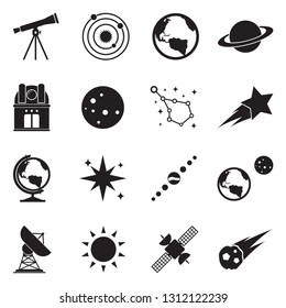 Astronomy Icons. Black Flat Design. Vector Illustration.