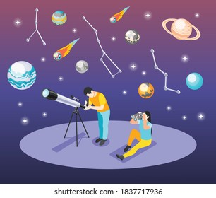 Astronomy isometric background composition with human characters looking through telescope and binocular with constellations of stars vector illustration