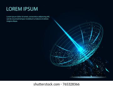 Astronomy. A large satellite dish transmits and receives a signal from space. Equipment for satellite TV and radio broadcasting. Radio signal propagates waves in space. Technological background