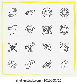 Astronomy line icon set constellation, astronomy and saturn planet
