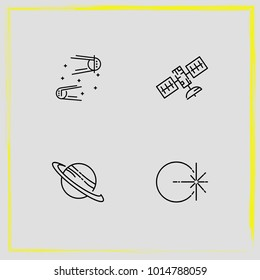 Astronomy line icon set rocket, satellite and saturn planet