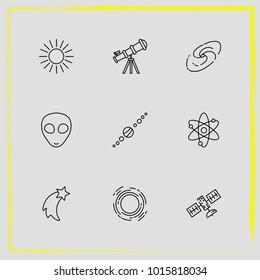 Astronomy line icon set telescope, astronomy and science