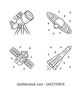 Astronomy linear icons set. Space exploration. Telescope, Solar System, artificial satellite, rocket. Astrophysics. Thin line contour symbols. Isolated vector outline illustrations. Editable stroke