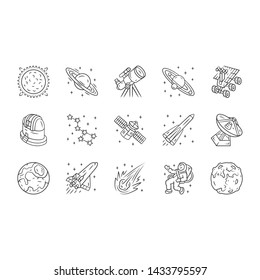 Astronomy linear icons set. Space exploration. Astronomical observations. Starry sky study. Astrophysics, astrology. Thin line contour symbols. Isolated vector outline illustrations. Editable stroke